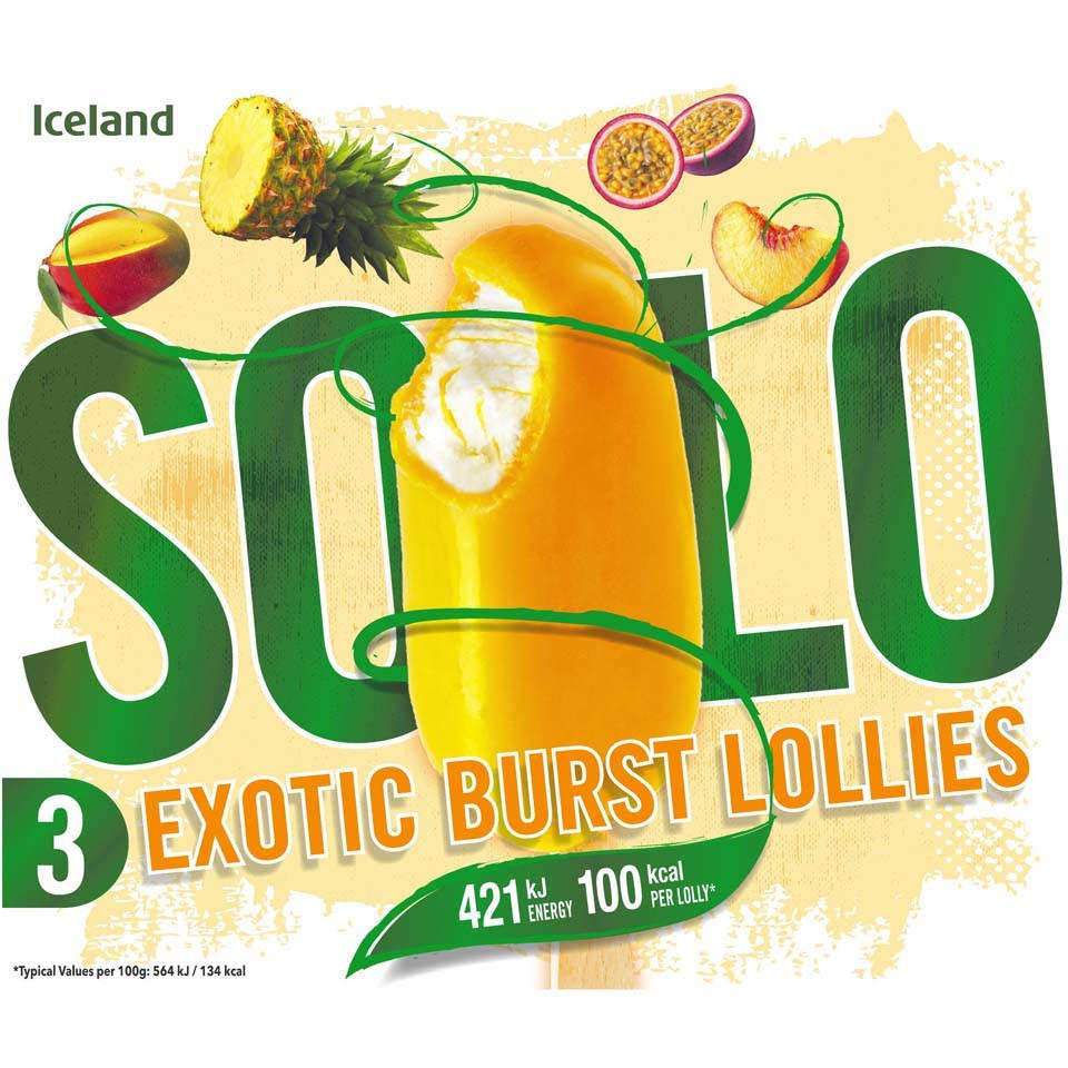 Iceland 3 Solo Exotic Burst Lollies 300ml Ice Cream Cones