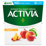 Activia Peach No Added Sugar 0% Fat Yogurt 4 x 120g (480g)
