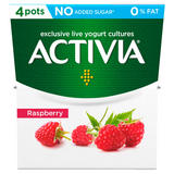 Activia Raspberry No Added Sugar 0% Fat Yogurt 4 x 120g (480g)