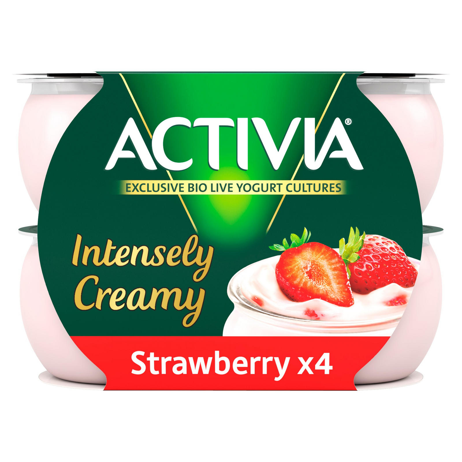 Activia Intensely Creamy Greek Style Strawberry Yogurt 4 x 110g (440g)