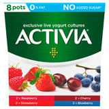 Activia Raspberry, Strawberry, Cherry and Blueberry 0% Fat No Added Sugar Yogurt 8 x 120g (960g)