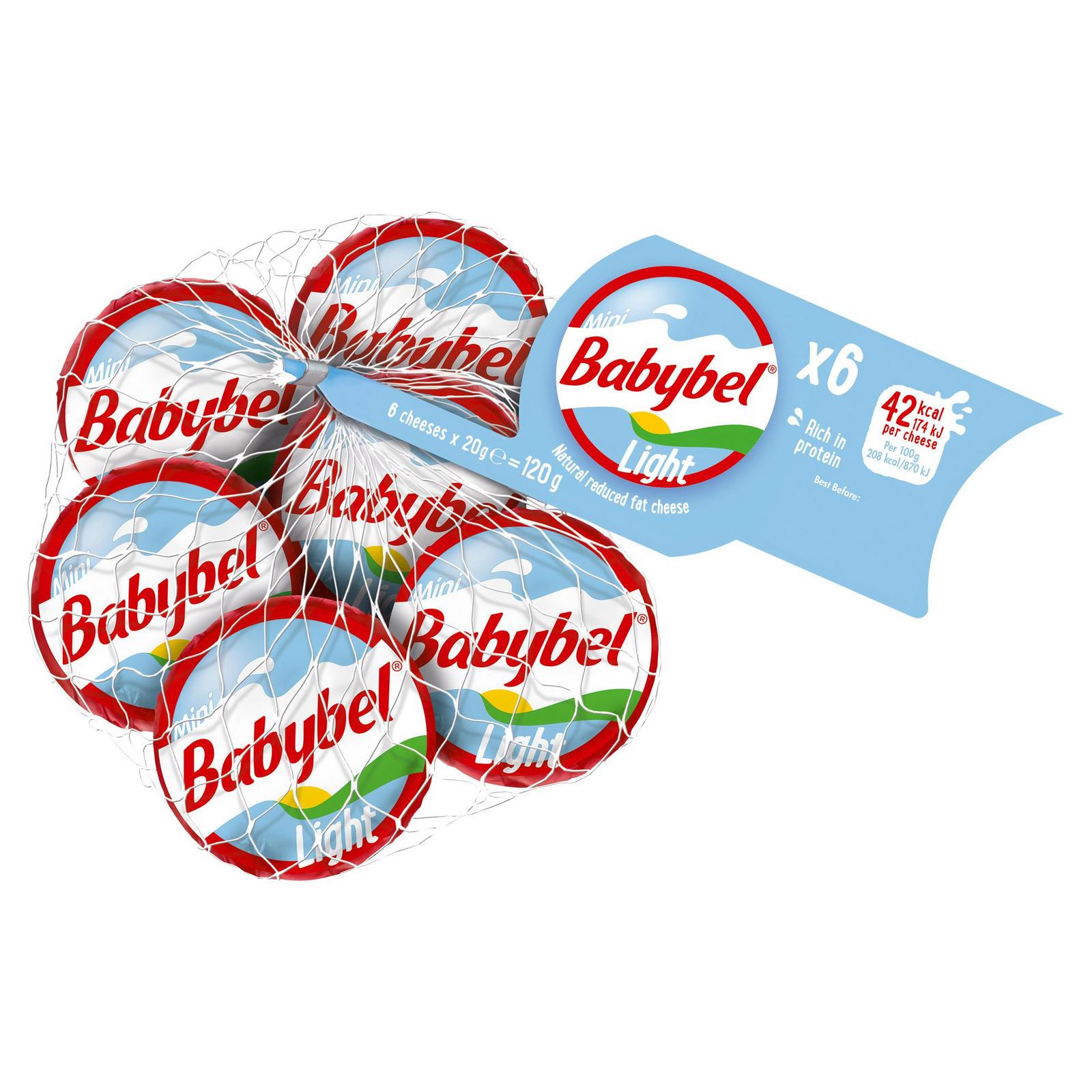 Mini Babybel Light Reduced Fat Natural Cheese Snacks 6 x 20g (120g)