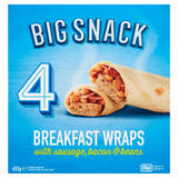 Big Snack 4 Breakfast Wraps with Sausage, Bacon & Beans 652g
