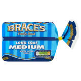 Brace's Family Bread Long Loaf Medium White Sliced Bread 400g