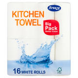 Breeze Kitchen Towel 16 White Rolls