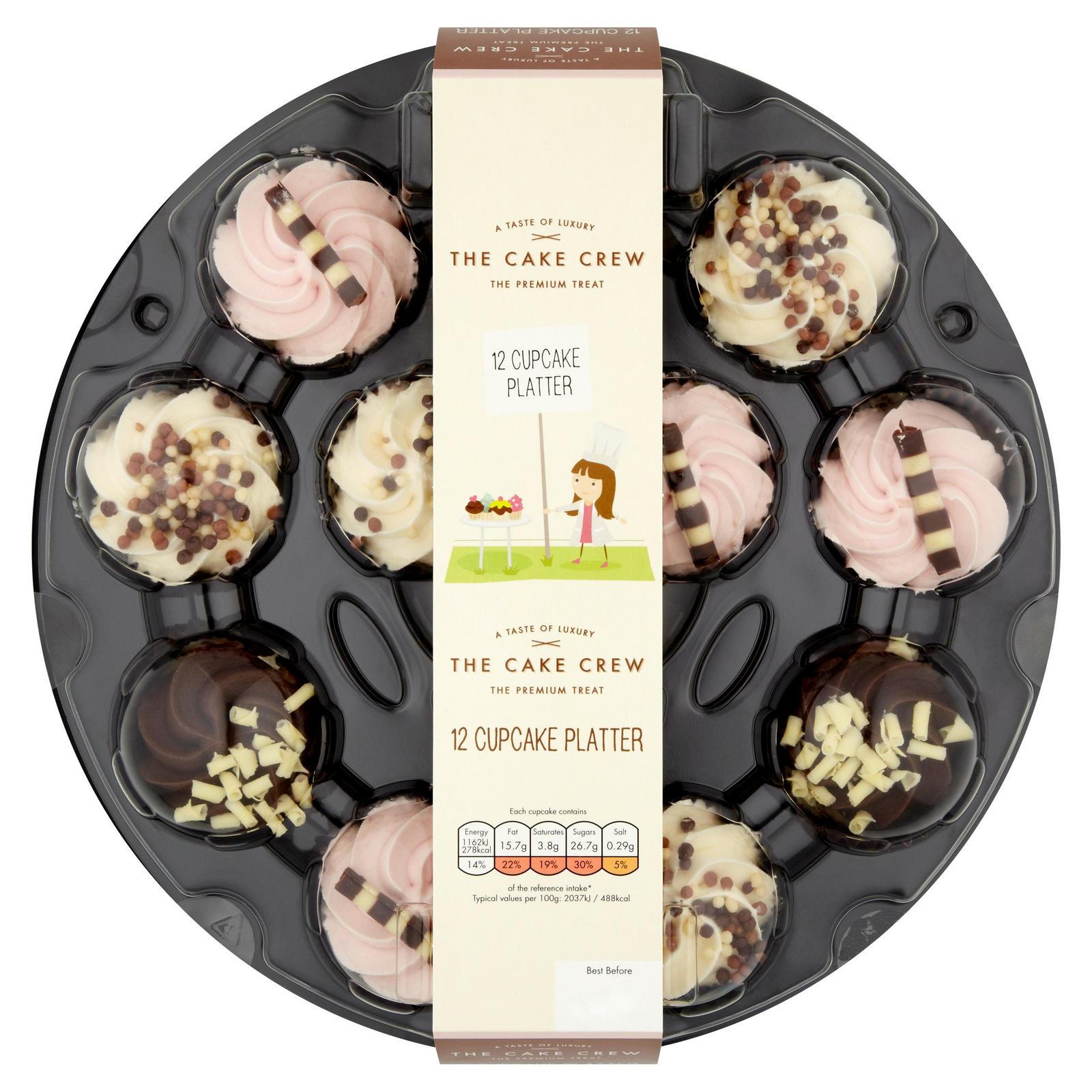 The Cake Crew 12 Cupcake Platter Iceland Foods