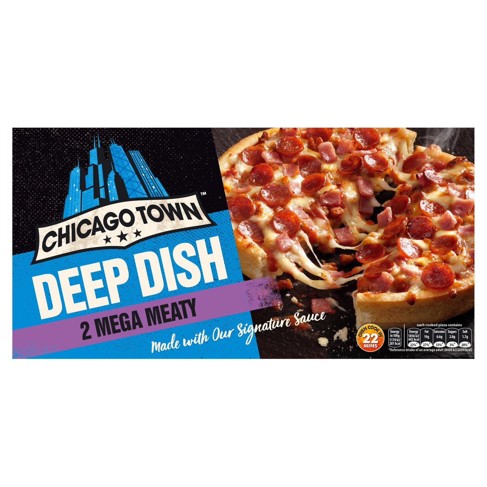 Chicago Town 2 Deep Dish Mega Meaty Pizzas (320g) | Deep Pan