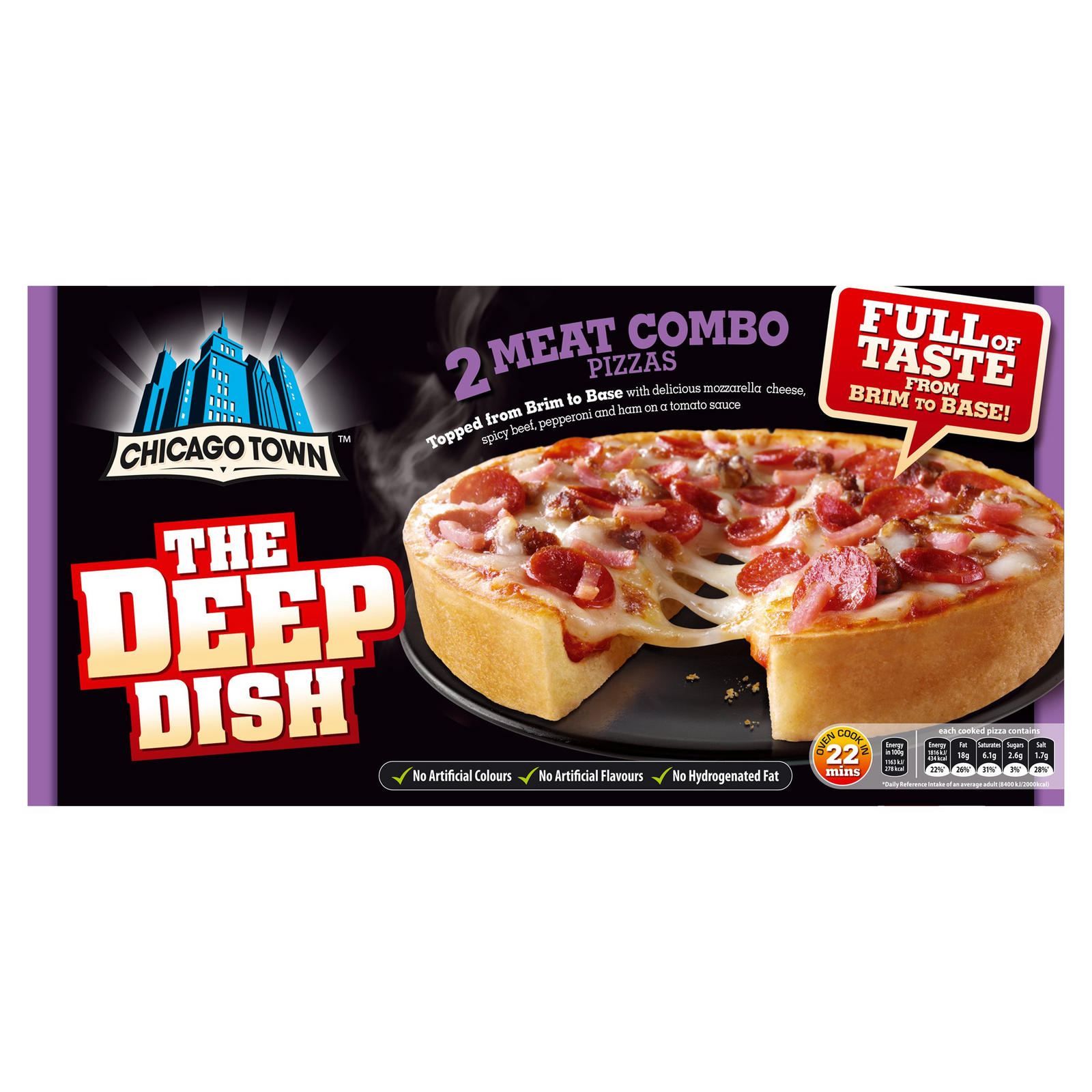 Chicago Town The Deep Dish 2 Meat Combo Pizzas 2 X 160g