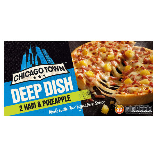 Chicago Town 2 Deep Dish Ham Pineapple Pizzas 330g Pizza