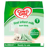 Cow & Gate 1 First Infant Milk from Birth 4 x 200ml (800ml)