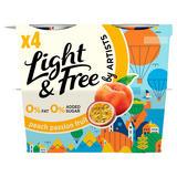 Light & Free Peach Passionfruit 0% Fat & 0% Added Sugar Yogurt 4 x 115g
