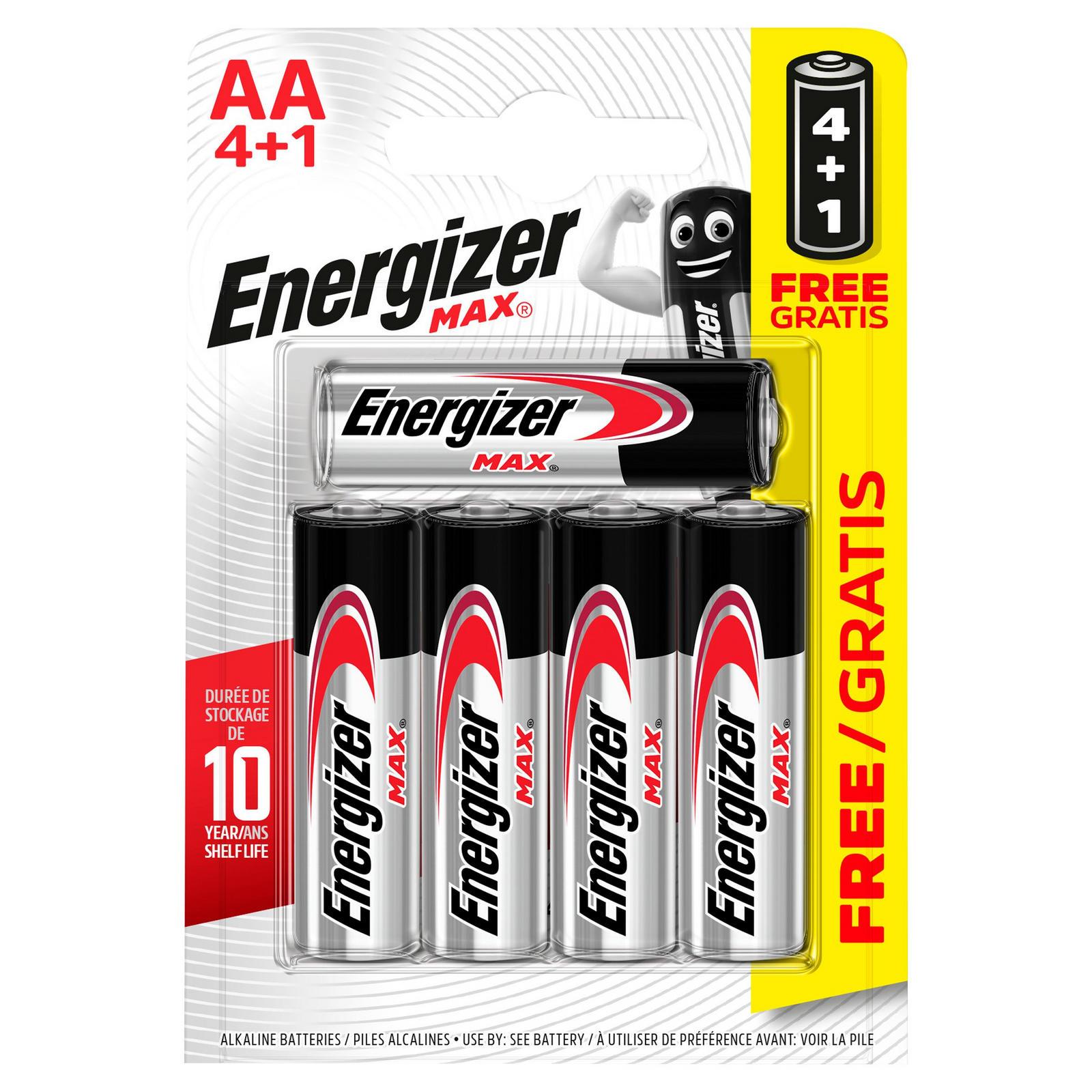 Energizer MAX® Alkaline AA Batteries 4 + 1 Free Pack