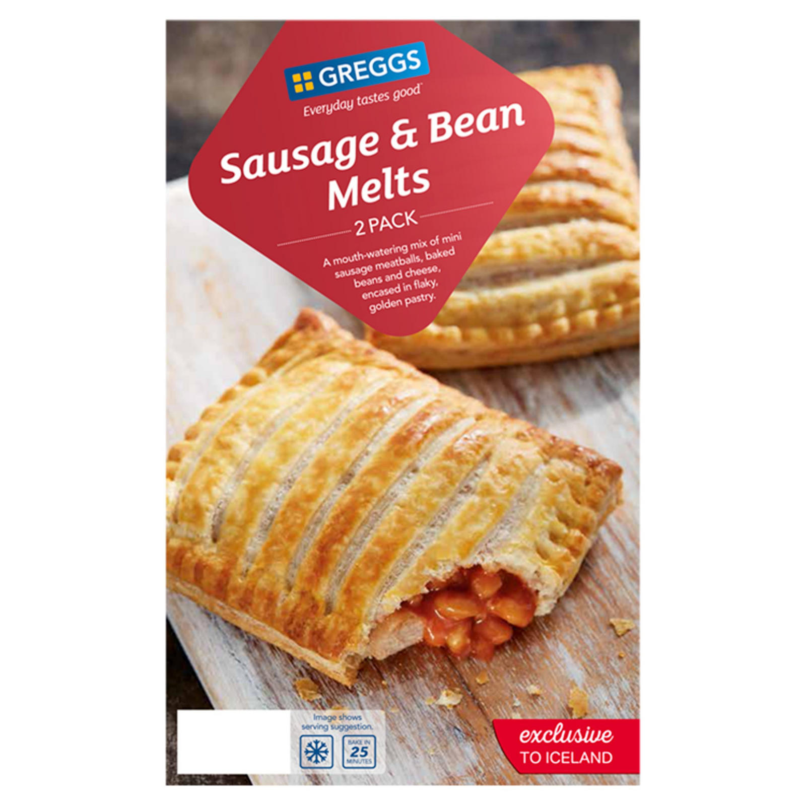 Greggs 2 Sausage Bean Melts 308g Greggs Iceland Foods