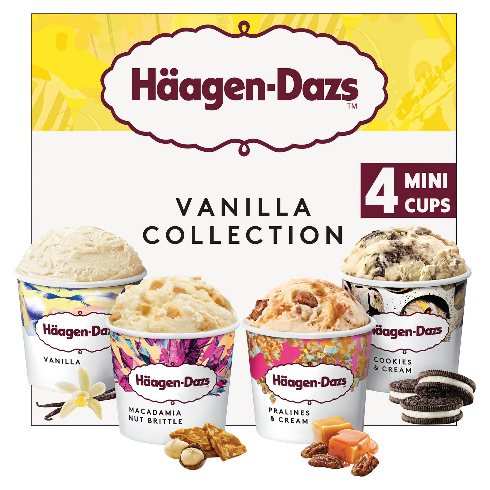 Haagen-Dazs Vanilla Minicup Ice Cream Collection 4x95ml | Ice Cream