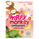 Happy Monkey Smoothies Strawberry & Banana 4 x 180ml