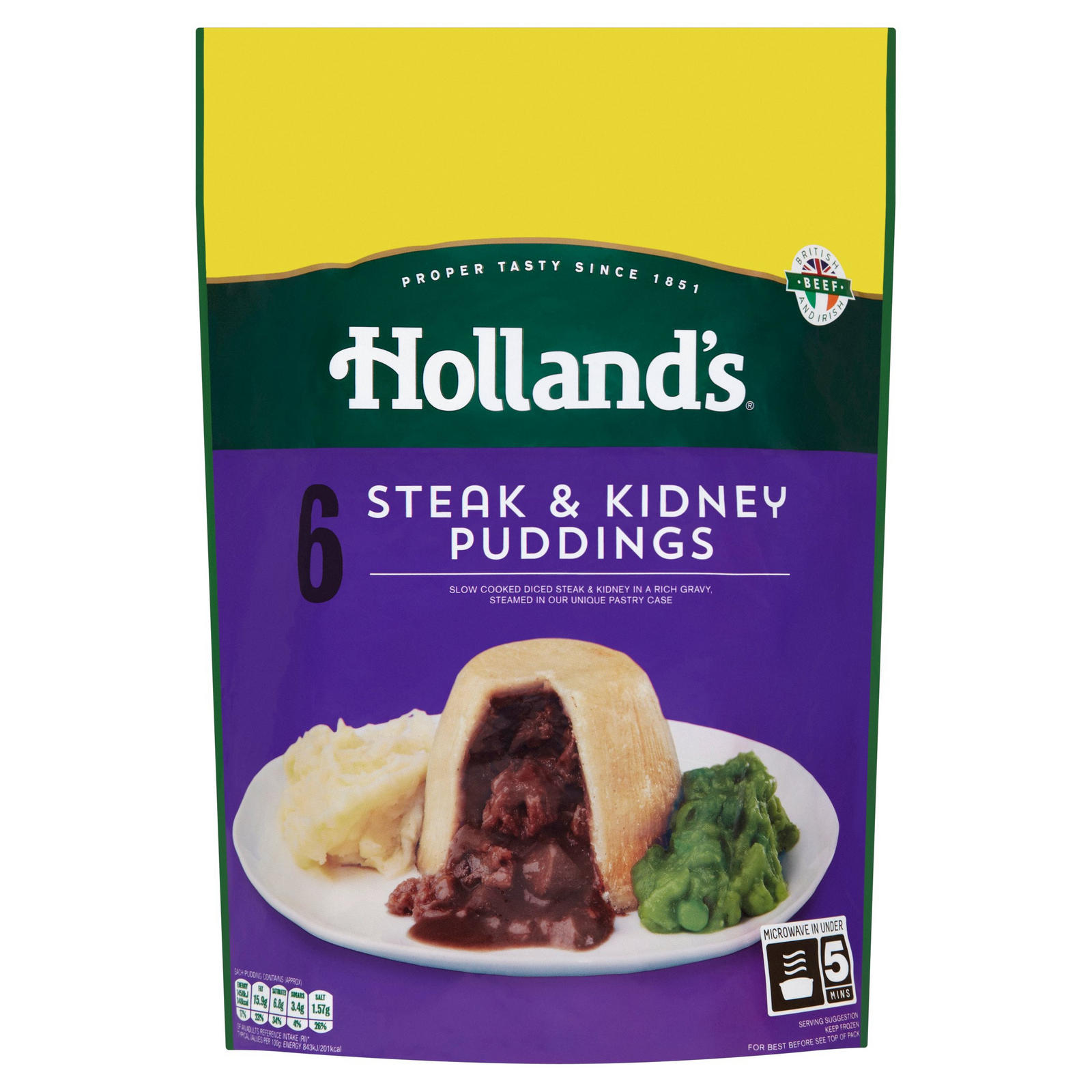 Holland's 6 Steak & Kidney Puddings | Pies & Puddings ...