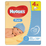 Huggies® Pure Baby Wipes - 4 Pack (56 Wipes/Pack, 224 Wipes Total)