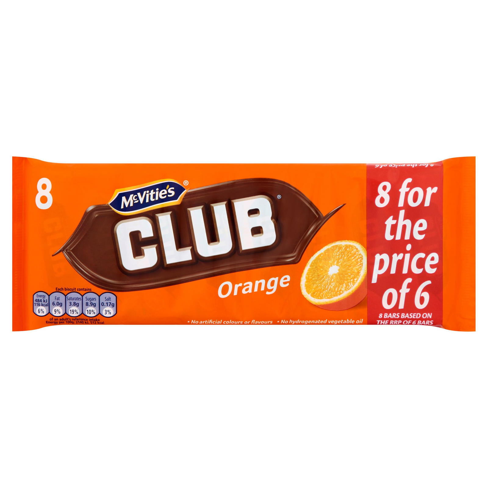 Mcvities Club Orange 8 X 22g 176g Multipack Biscuits
