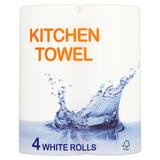 Breeze Kitchen Towel 4 White Rolls