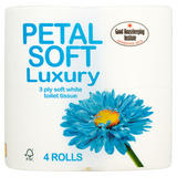 Petal Soft Luxury 3 Ply Soft White Toilet Tissue 4 Rolls