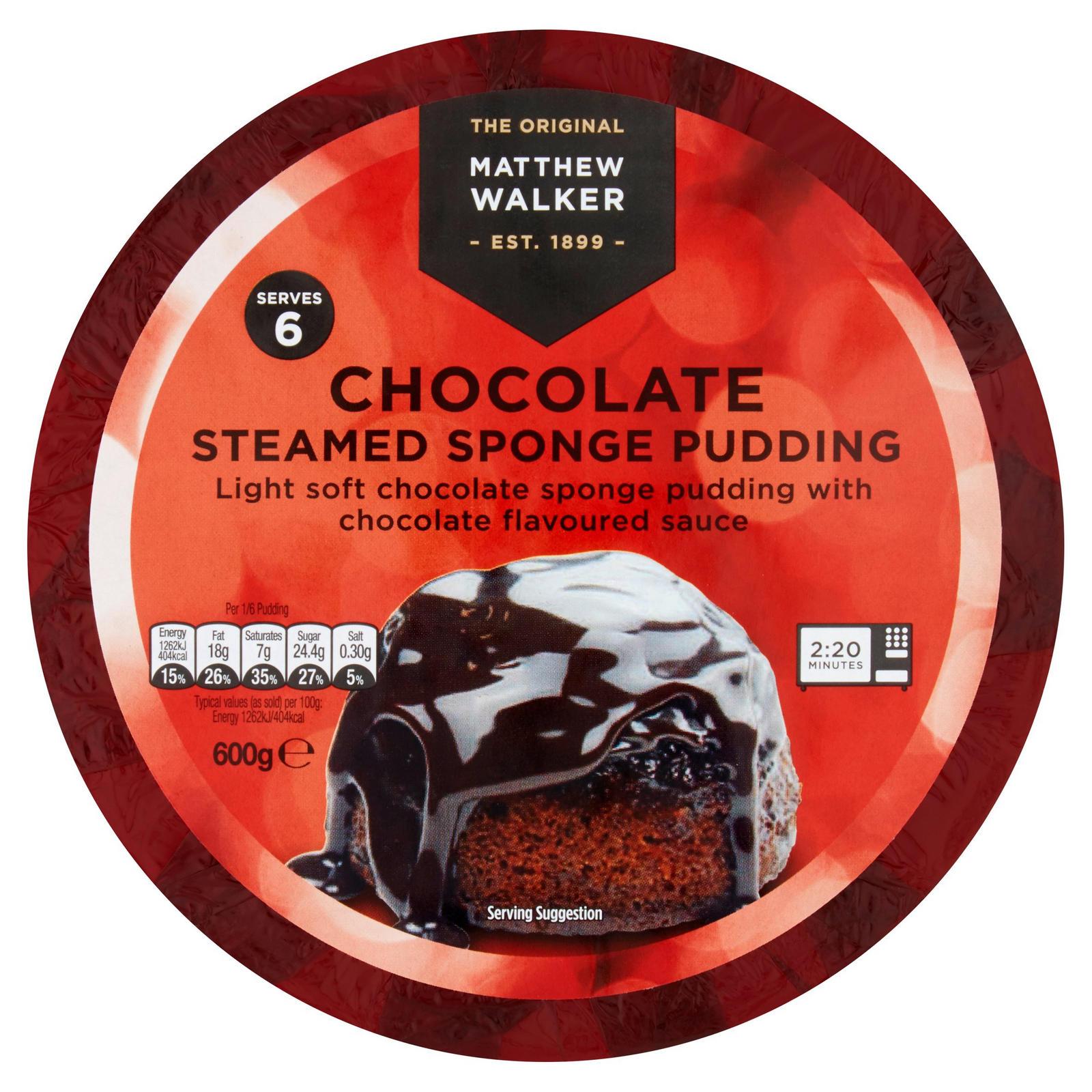 Matthew Walker Chocolate Steamed Sponge Pudding 600g Cakes