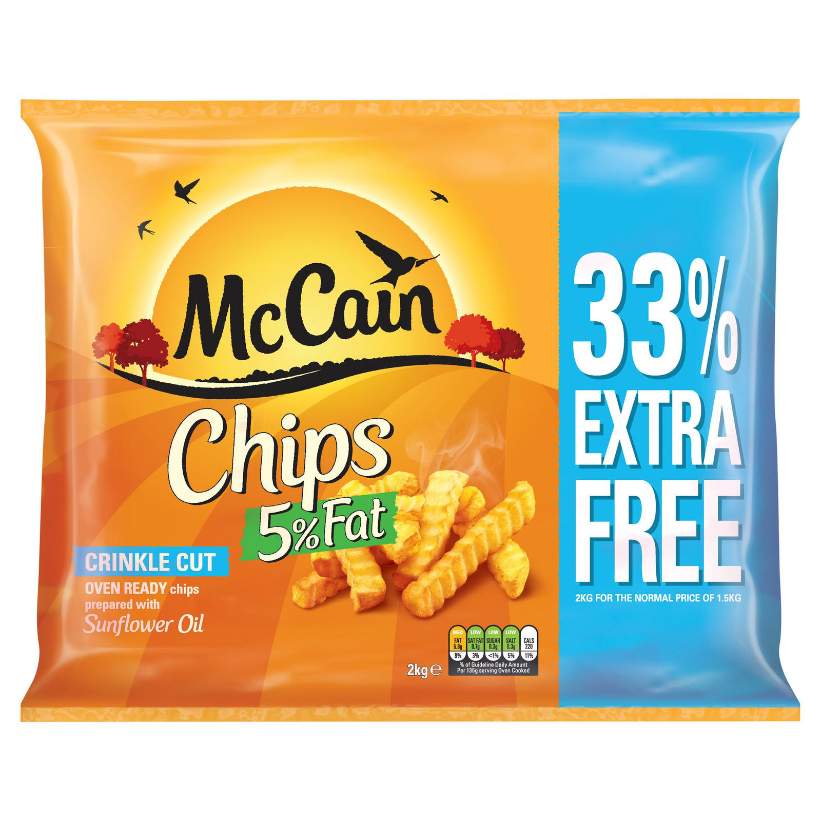 McCain Chips 5% Fat Crinkle Cut 2kg | Chips | Iceland Foods