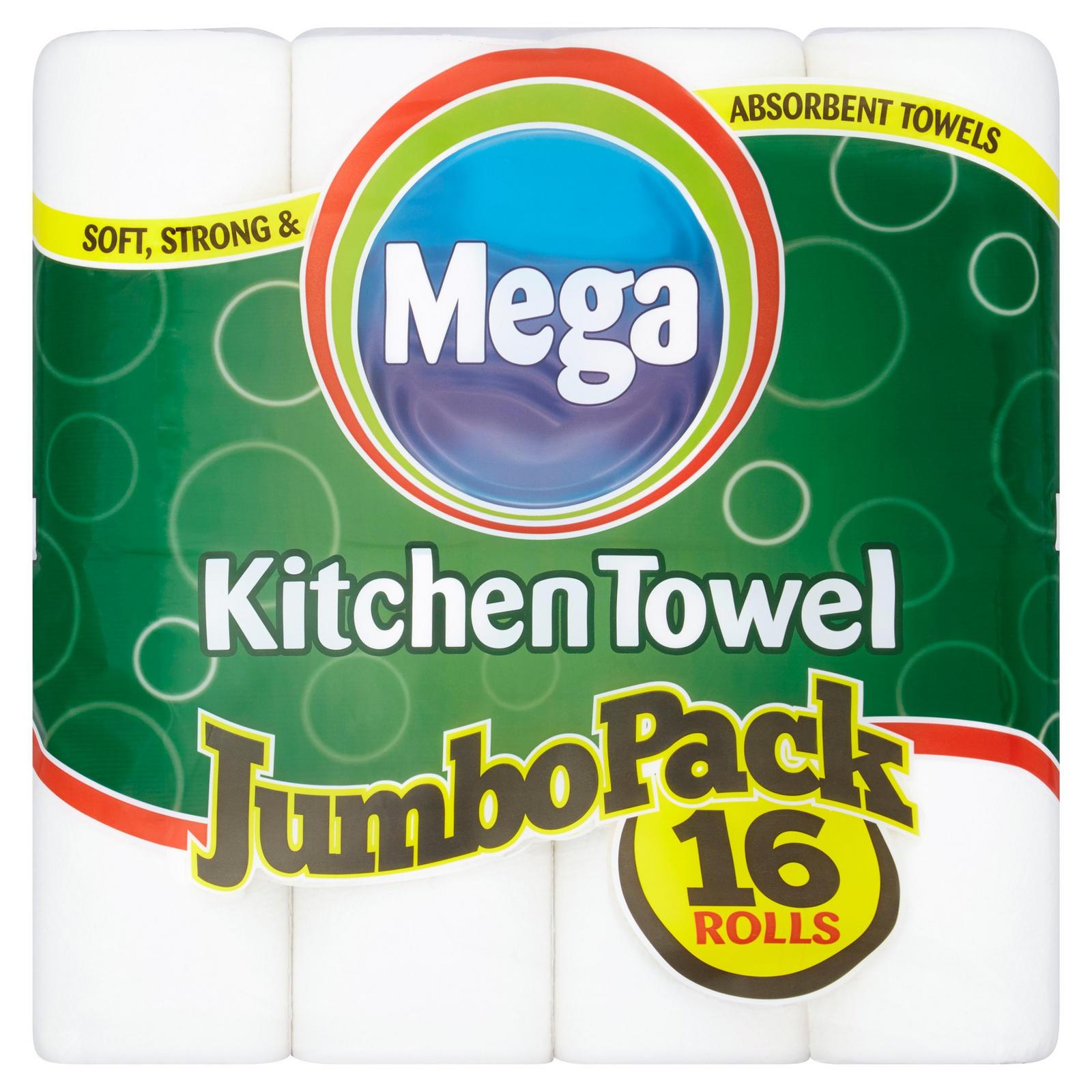 Mega Kitchen Towel Jumbo Pack 16 Rolls Toilet Roll