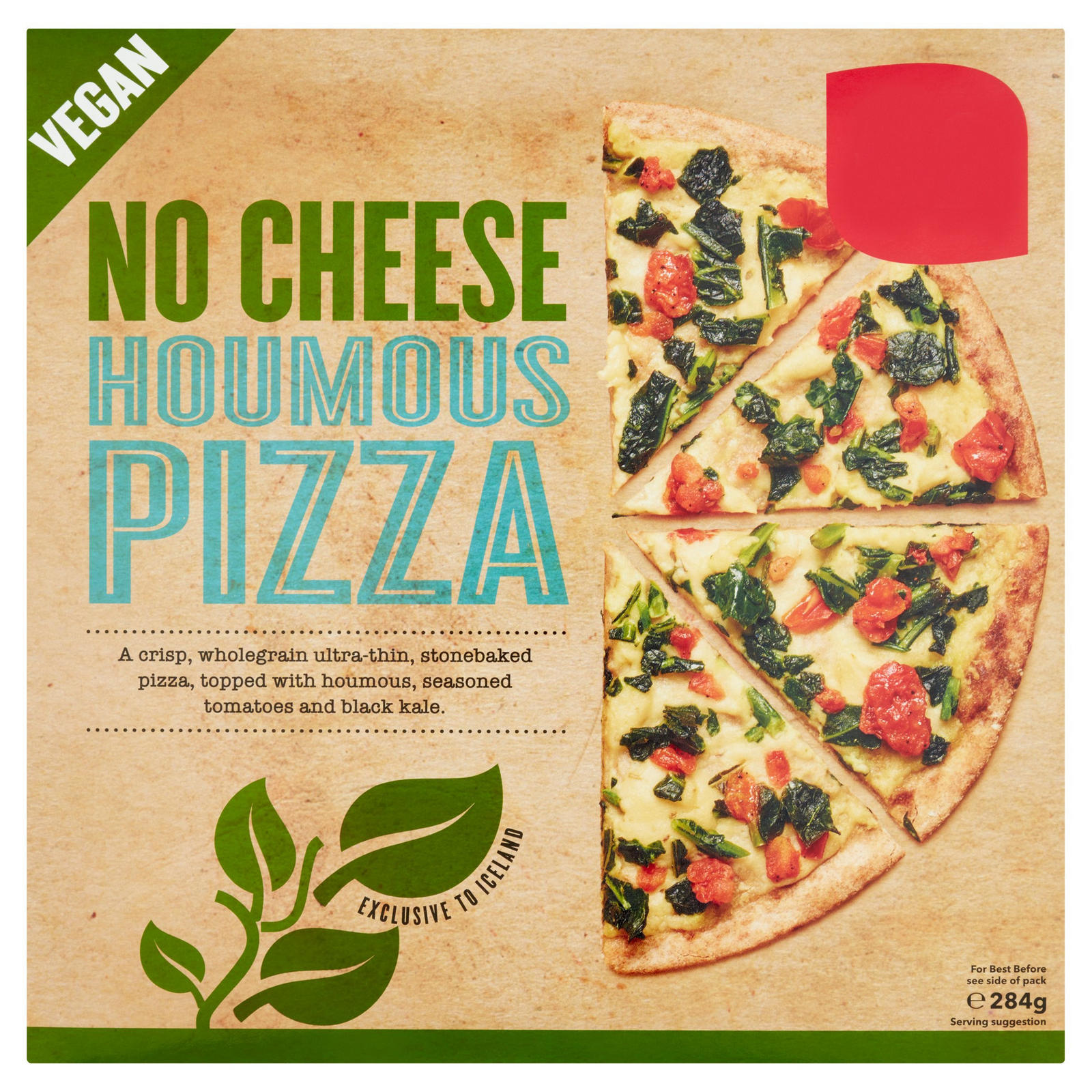 No Cheese Houmous Pizza 284g Thin Crispy Pizza Iceland