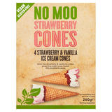 No Moo Strawberry Cones Strawberry & Vanilla Ice Cream Cones 4 x 65g (260g)