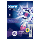 Oral-B Pro 650 3DWhite Electric Toothbrush Powered by Braun + 3DWhite Toothpaste