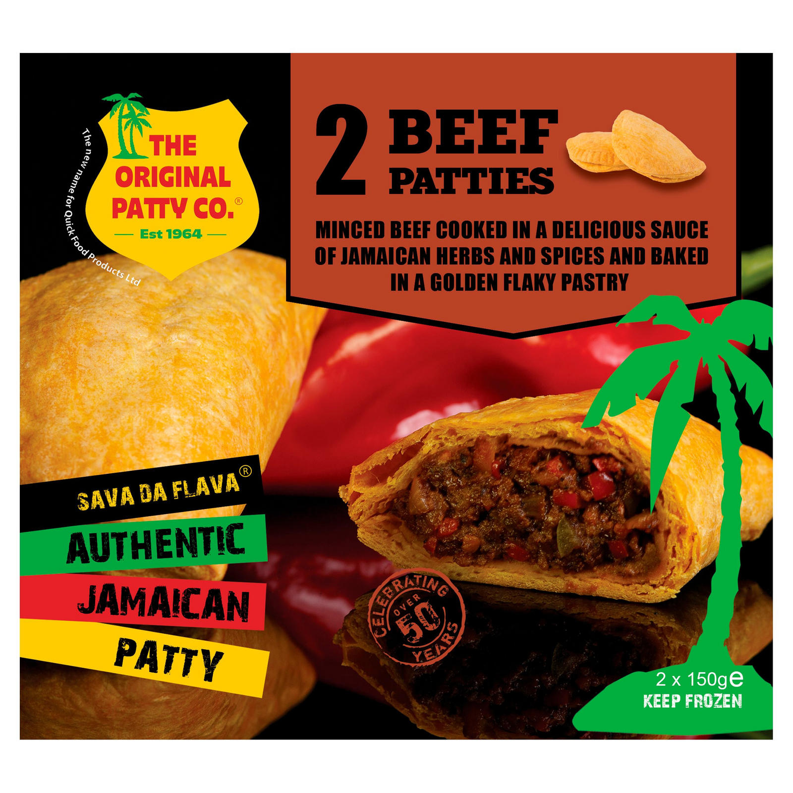 the original patty co beef jamaican patty 2 x 150g  burgers  iceland foods