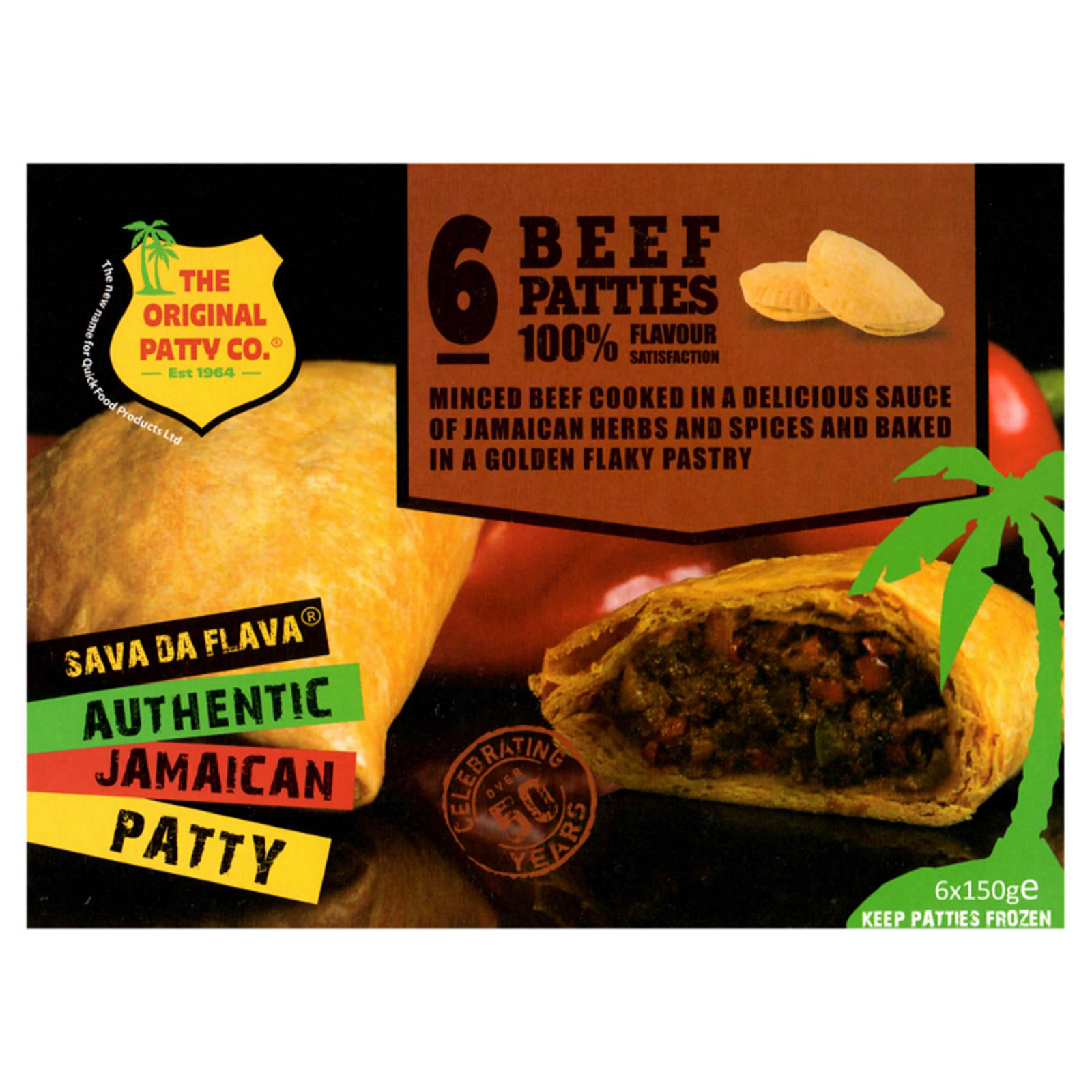 the original patty co beef jamaican patties 6 x 150g