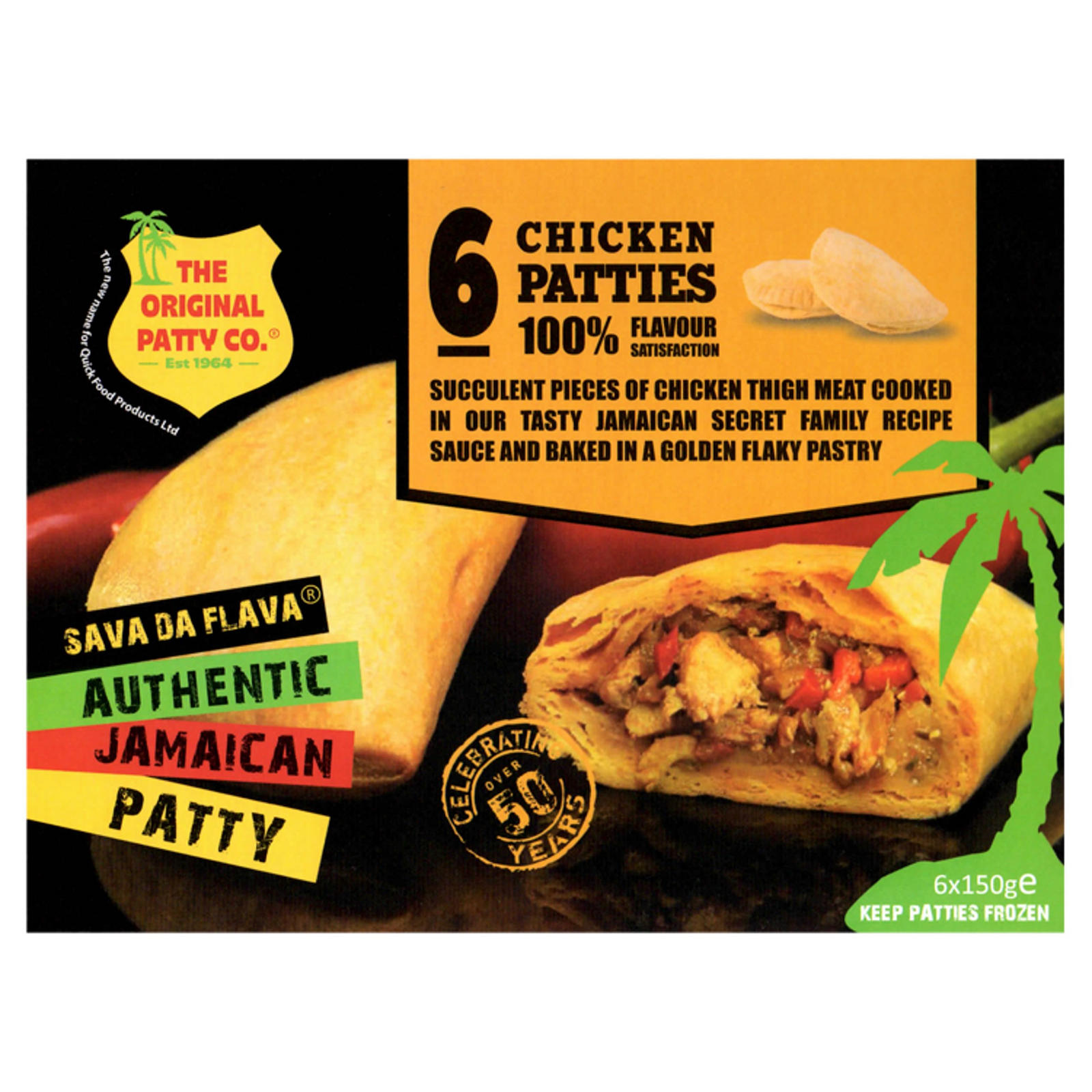 the original patty co chicken jamaican patties 6 x 150g  chicken  iceland foods