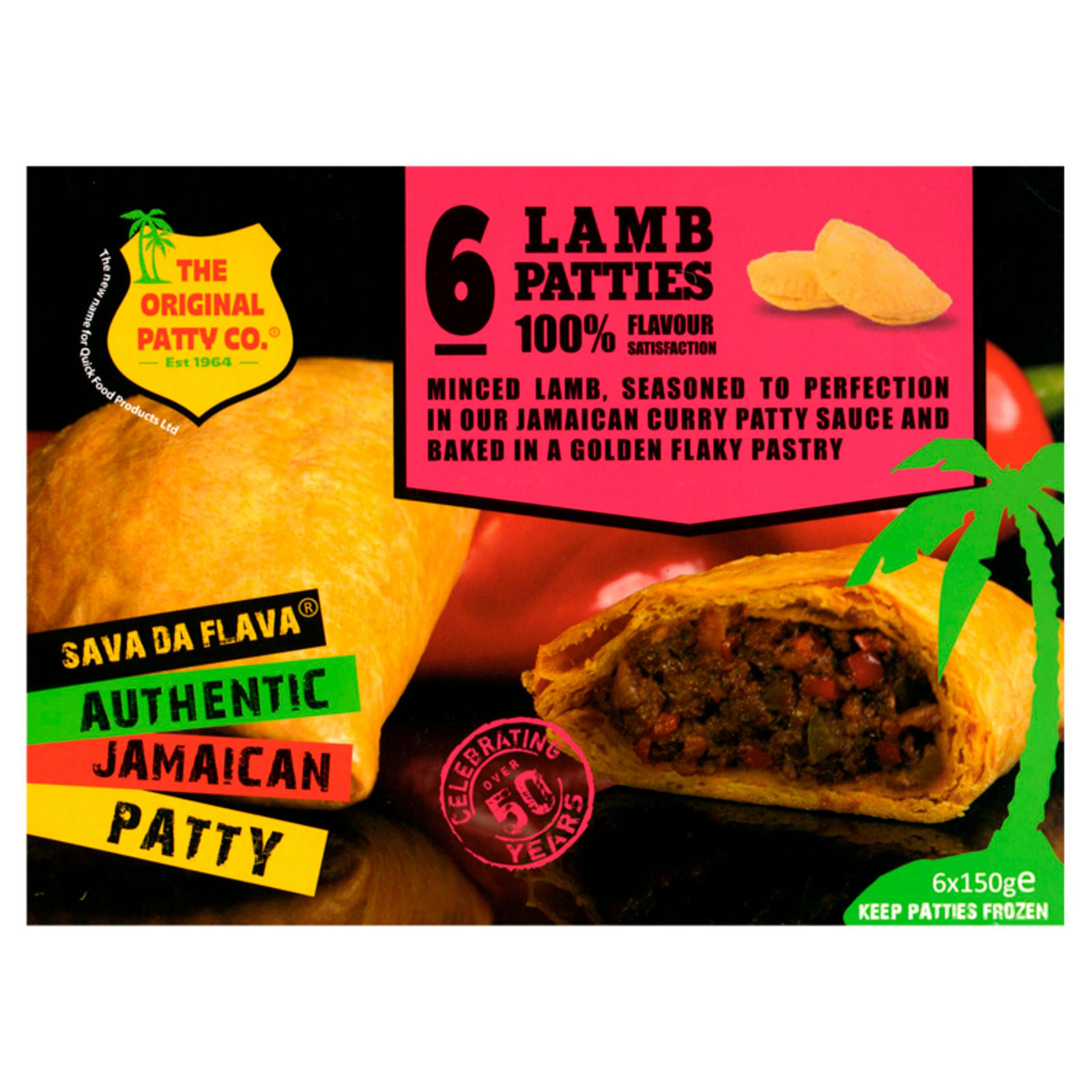 the original patty co lamb jamaican patties 6 x 150g  lamb  iceland foods