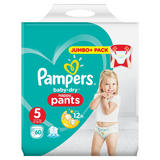 Pampers Baby-Dry Nappy Pants Size 5, 60 Nappies, 12-17kg, Jumbo+ Pack