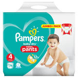 Pampers Baby-Dry Nappy Pants Size 4, 74 Nappies, 9-15kg, Jumbo+ Pack
