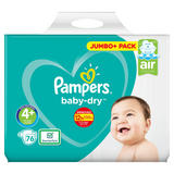 Pampers Baby-Dry Size 4+, 76 Nappies, 10-15kg, Jumbo+ Pack