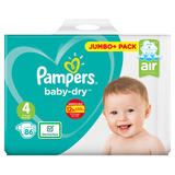 Pampers Baby-Dry Size 4, 86 Nappies, 9-14kg, Jumbo+ Pack