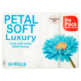 Petal Soft Luxury 3 Ply Soft White Toilet Tissue 24 Rolls