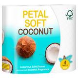 Petal Soft Coconut Luxurious Toilet Tissue 3 Ply 4 Rolls
