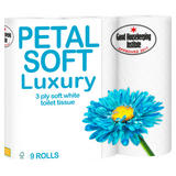 Petal Soft Luxury 3 Ply Soft White Toilet Tissue 9 Rolls