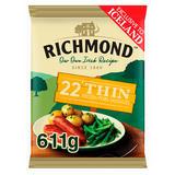 Richmond 22 Thin Frozen Pork Sausages 611g