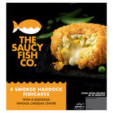 The Saucy Fish Co 4 Smoked Haddock Fishcakes with a Delicious Vintage Cheddar Centre 440g