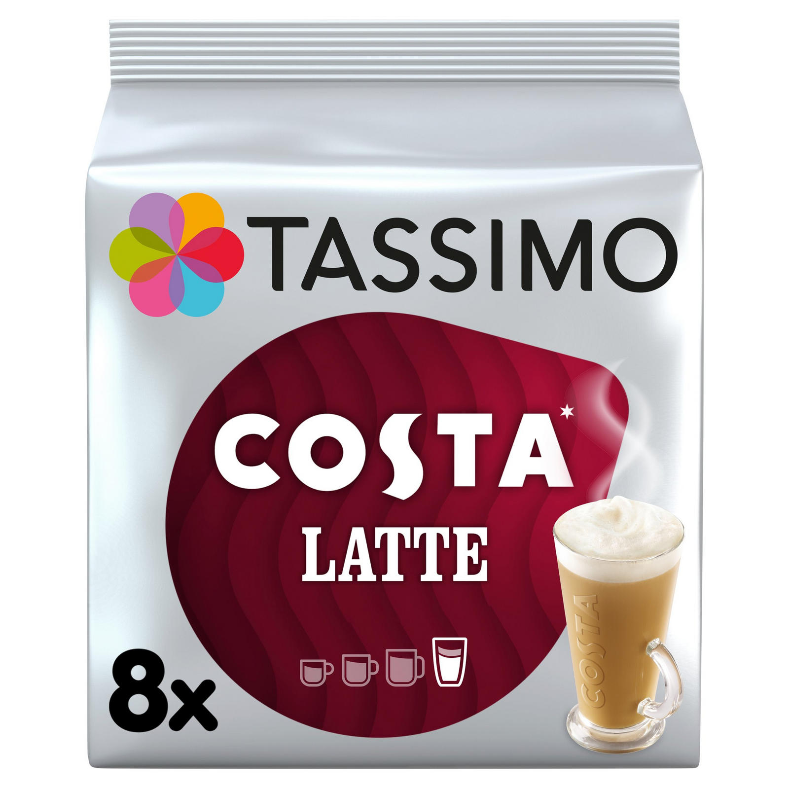 Tassimo Costa Latte Coffee Pods 8 Servings Coffee Machine