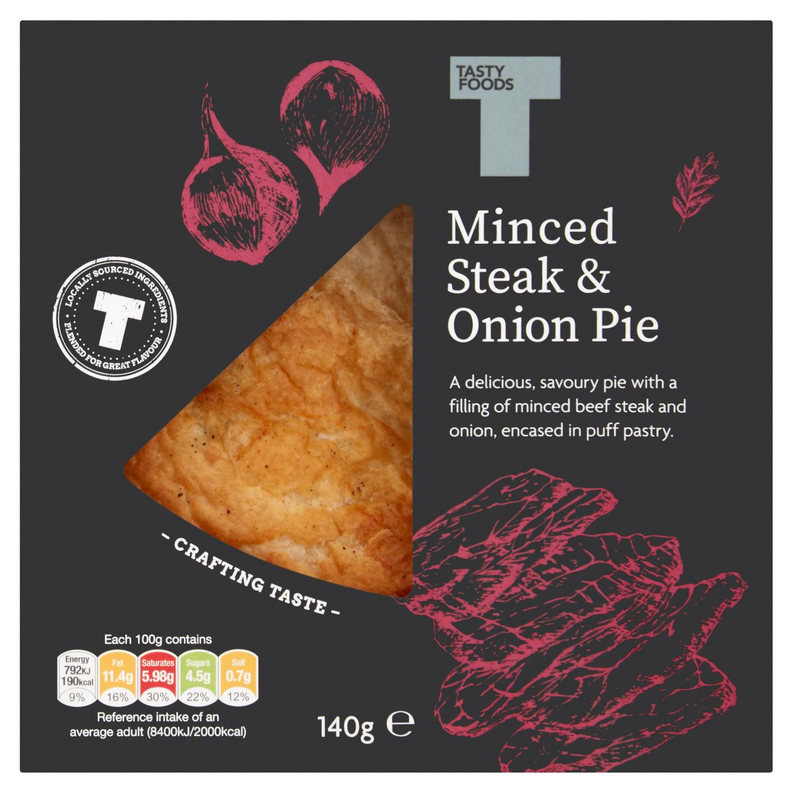Tasty Foods Minced Steak & Onion Pie 140g | Pies & Quiches ...