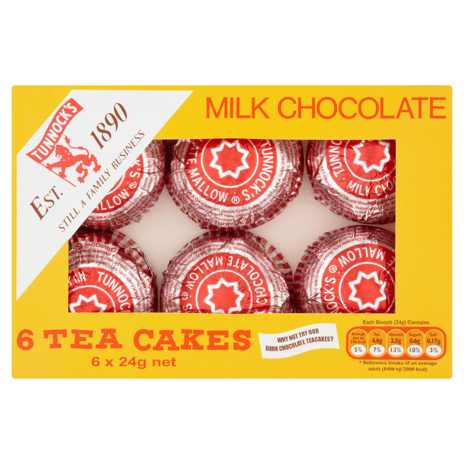 Tunnock S Milk Chocolate Tea Cakes 6 X 24g Biscuits Beverages Iceland Foods