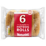 Warburtons 6 Sliced Hot Dog Rolls
