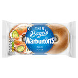 Warburtons 6 Plain Thin Bagels Sliced