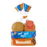 Warburtons 8 Half & Half Rolls Sliced