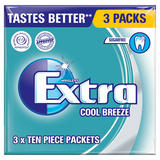 Wrigley's Extra Cool Breeze Sugarfree Chewing Gum 3 Packs 42g